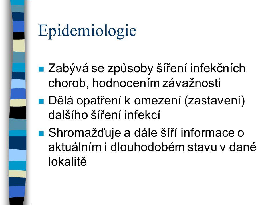 Epidemiologie Zabývá se způsoby šíření infekčních chorob, hodnocením závažnosti. Dělá opatření k omezení (zastavení) dalšího šíření infekcí.