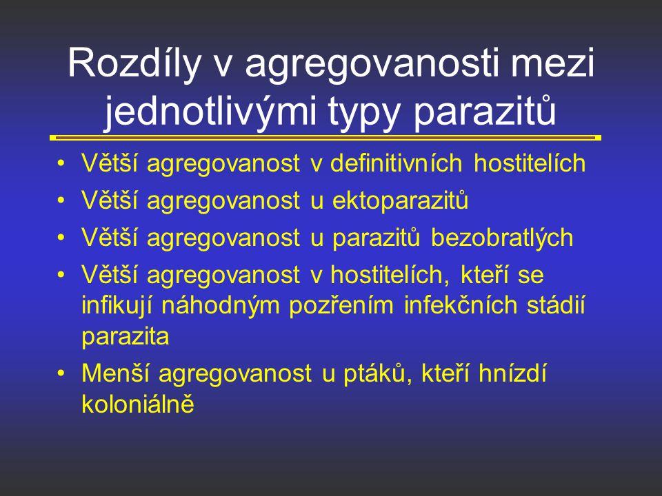 Rozdíly v agregovanosti mezi jednotlivými typy parazitů