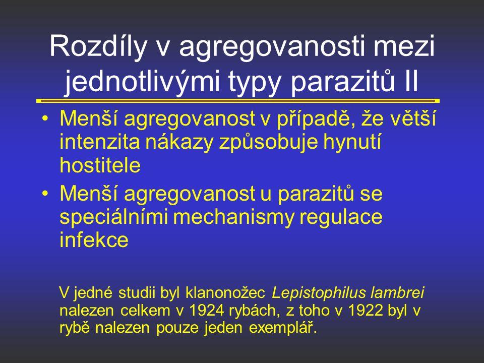 Rozdíly v agregovanosti mezi jednotlivými typy parazitů II