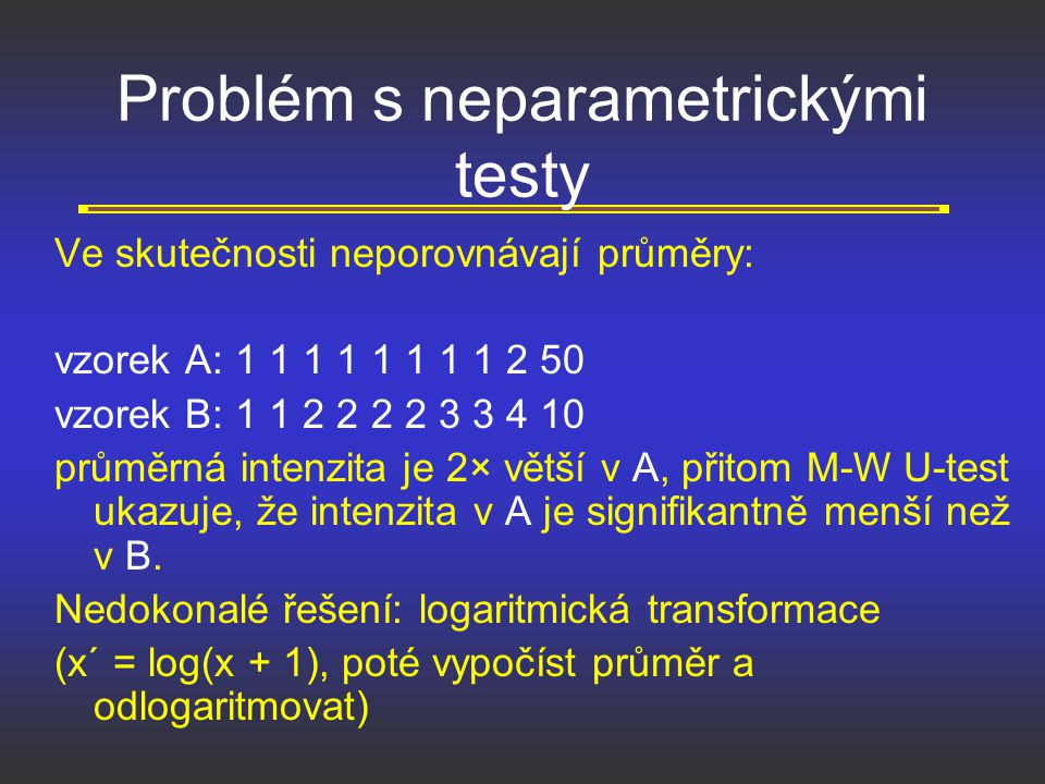 Problém s neparametrickými testy