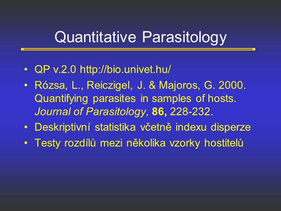 Quantitative Parasitology