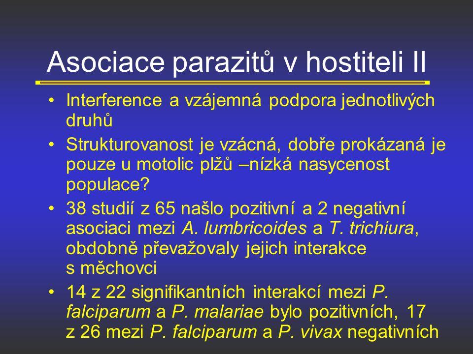 Asociace parazitů v hostiteli II