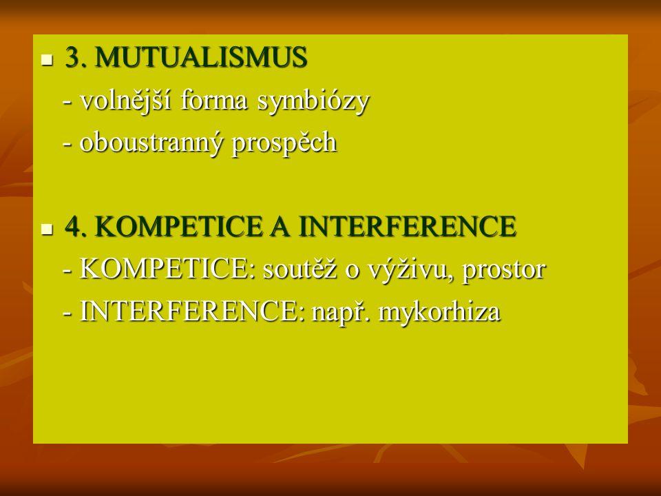 3. MUTUALISMUS - volnější forma symbiózy. - oboustranný prospěch. 4. KOMPETICE A INTERFERENCE. - KOMPETICE: soutěž o výživu, prostor.