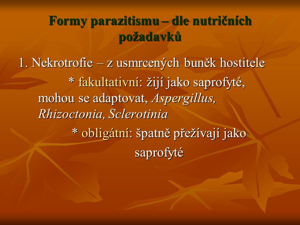 Formy parazitismu – dle nutričních požadavků