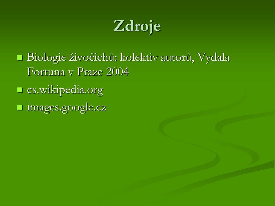 Zdroje Biologie živočichů: kolektiv autorů, Vydala Fortuna v Praze 2004.
