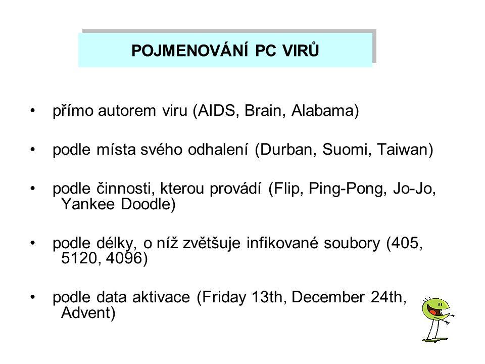 POJMENOVÁNÍ PC VIRŮ přímo autorem viru (AIDS, Brain, Alabama) podle místa svého odhalení (Durban, Suomi, Taiwan)