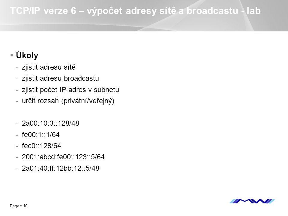 TCP/IP verze 6 – výpočet adresy sítě a broadcastu - lab