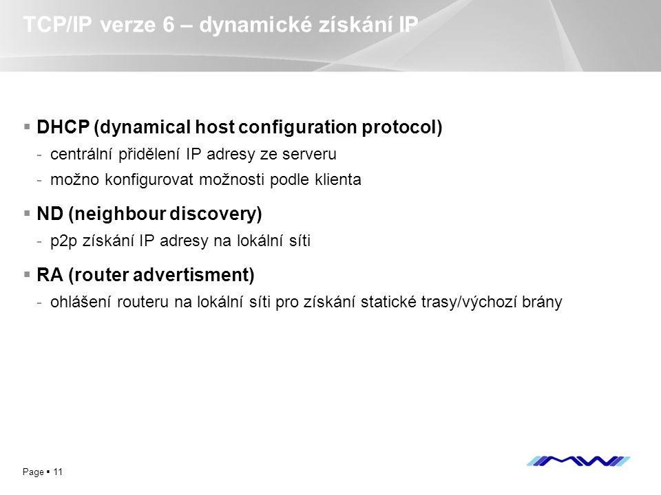 TCP/IP verze 6 – dynamické získání IP