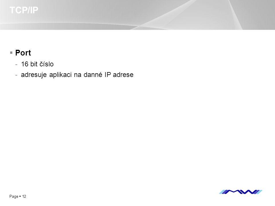 TCP/IP Port 16 bit číslo adresuje aplikaci na danné IP adrese
