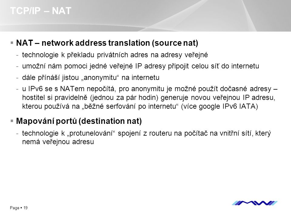 TCP/IP – NAT NAT – network address translation (source nat)
