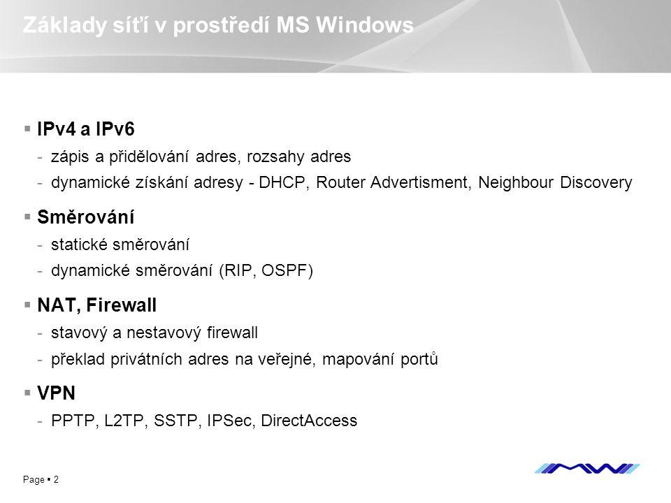 Základy síťí v prostředí MS Windows