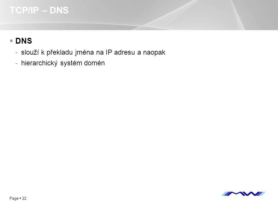 TCP/IP – DNS DNS slouží k překladu jména na IP adresu a naopak