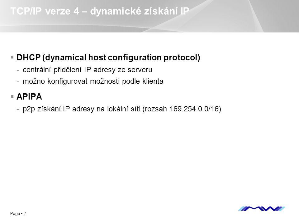 TCP/IP verze 4 – dynamické získání IP