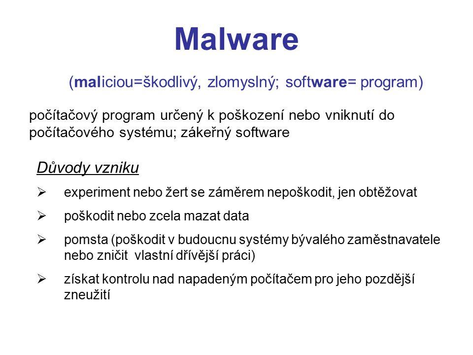(maliciou=škodlivý, zlomyslný; software= program)