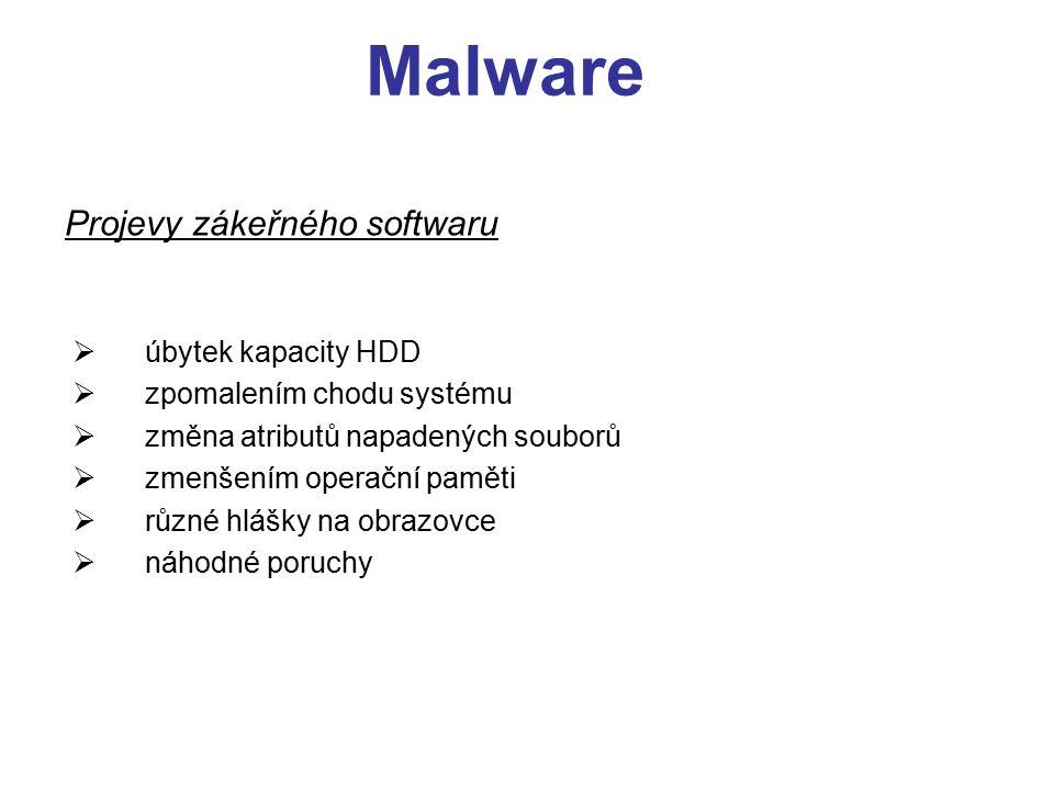 Malware Projevy zákeřného softwaru úbytek kapacity HDD