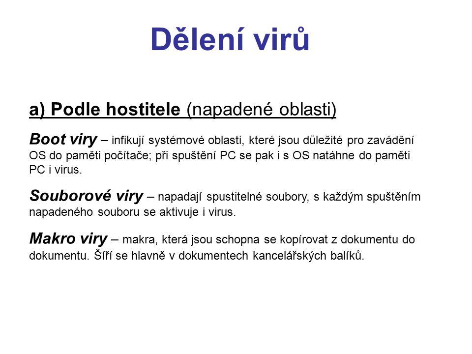 Dělení virů a) Podle hostitele (napadené oblasti)
