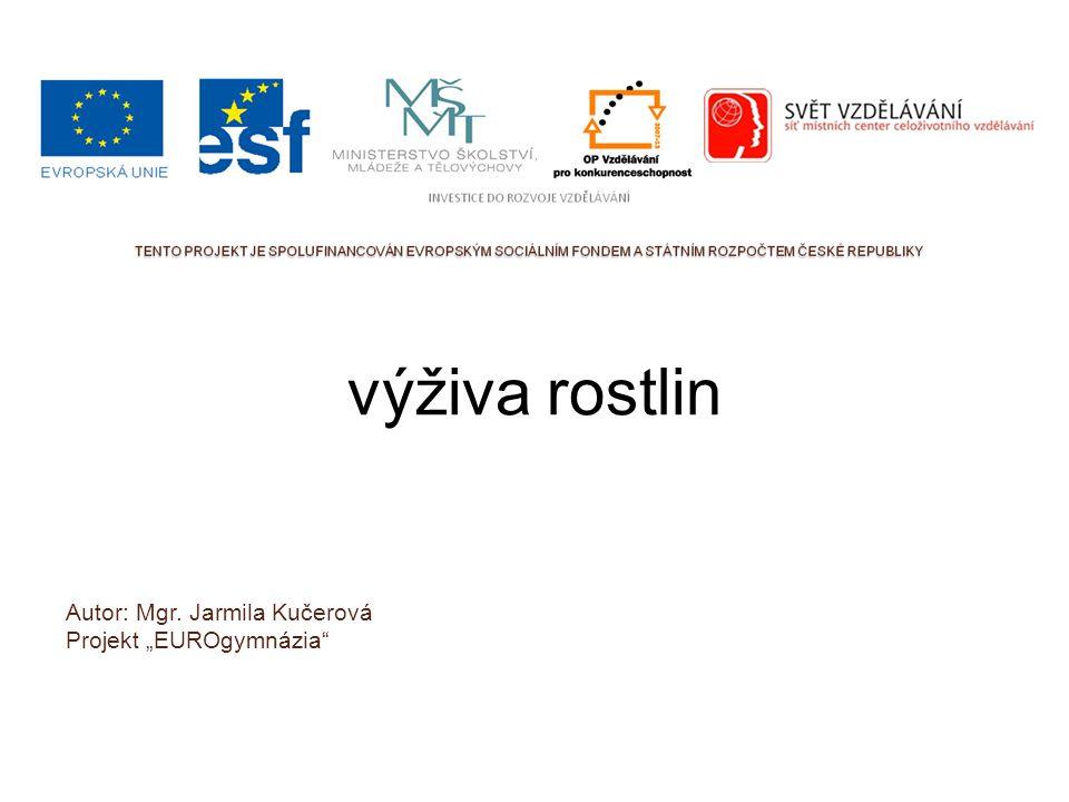 """výživa rostlin Autor: Mgr. Jarmila Kučerová Projekt """"EUROgymnázia"""