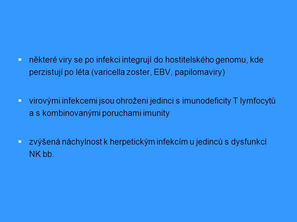 některé viry se po infekci integrují do hostitelského genomu, kde perzistují po léta (varicella zoster, EBV, papilomaviry)
