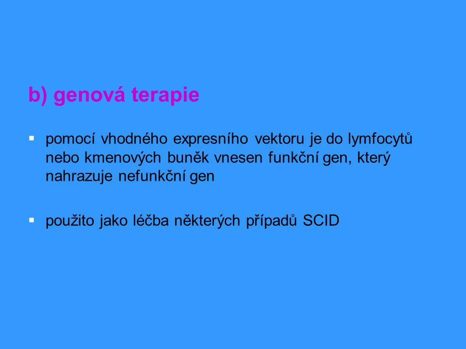 b) genová terapie pomocí vhodného expresního vektoru je do lymfocytů nebo kmenových buněk vnesen funkční gen, který nahrazuje nefunkční gen.
