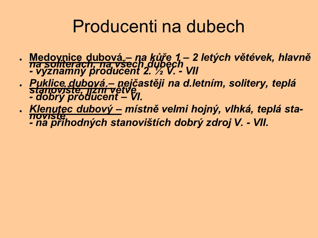 Producenti na dubech