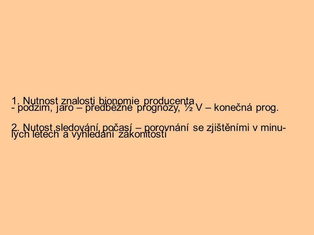 1. Nutnost znalosti bionomie producenta - podzim, jaro – předběžné prognózy, ½ V – konečná prog.