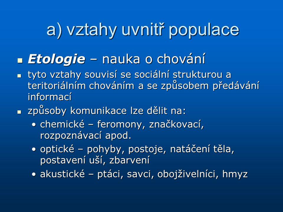 a) vztahy uvnitř populace