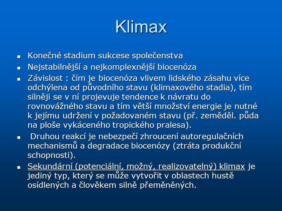 Klimax Konečné stadium sukcese společenstva