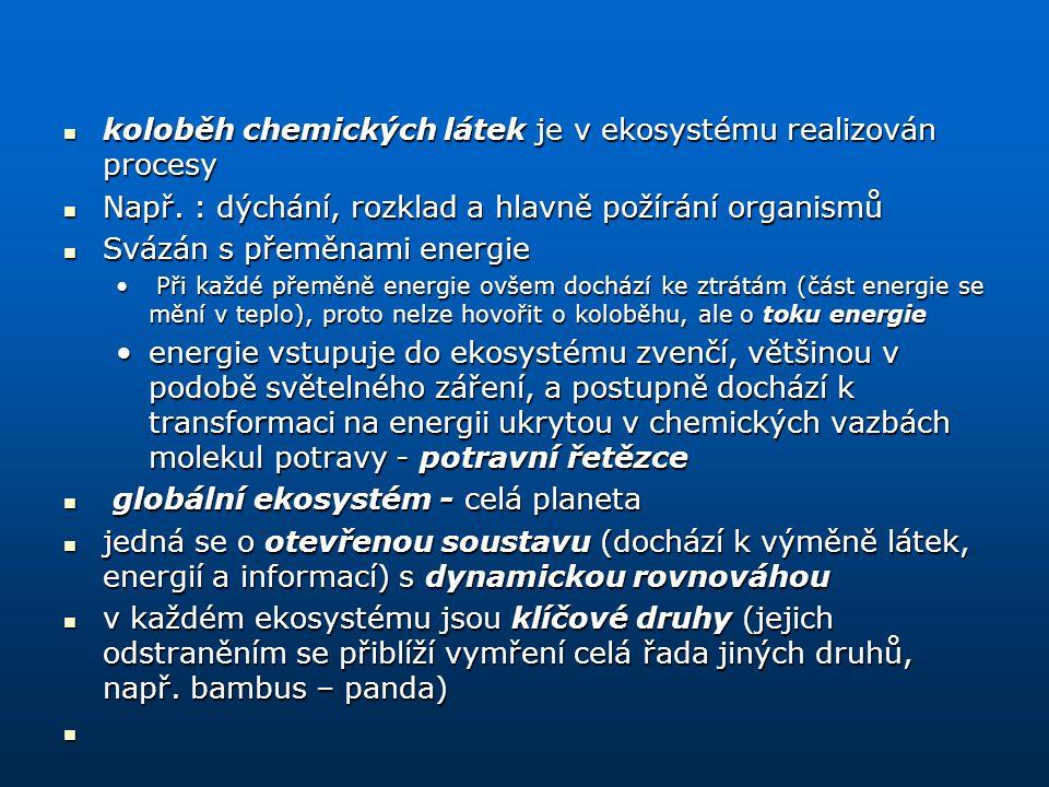 koloběh chemických látek je v ekosystému realizován procesy