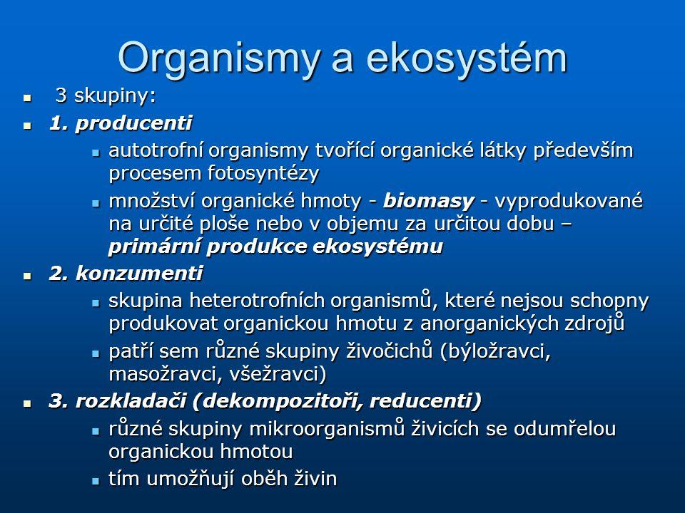 Organismy a ekosystém 3 skupiny: 1. producenti