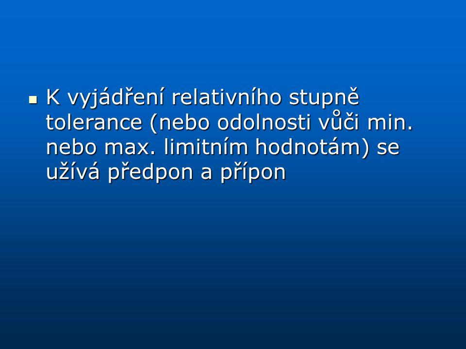 K vyjádření relativního stupně tolerance (nebo odolnosti vůči min