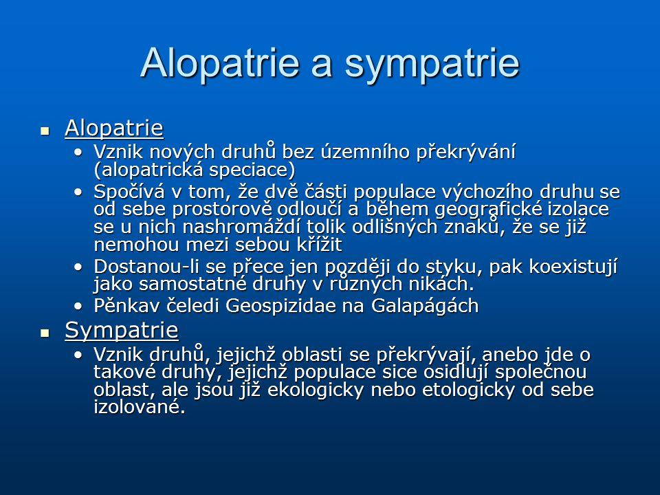 Alopatrie a sympatrie Alopatrie Sympatrie