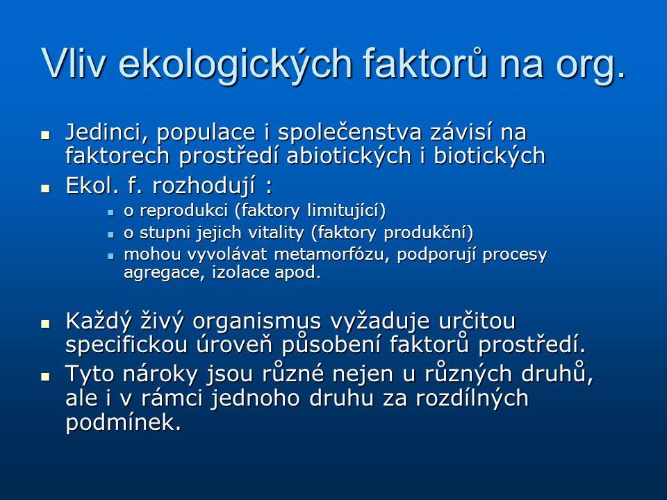 Vliv ekologických faktorů na org.