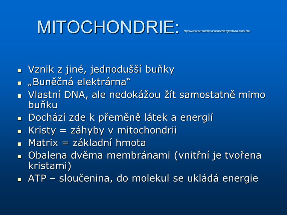 MITOCHONDRIE: http://www. kepler. estranky