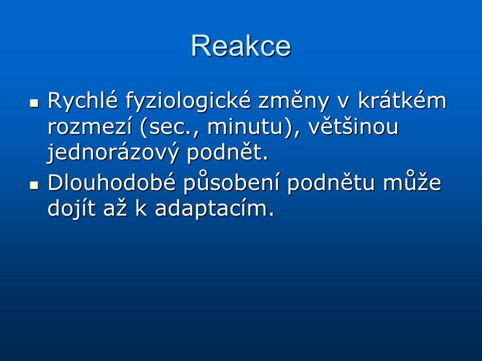 Reakce Rychlé fyziologické změny v krátkém rozmezí (sec., minutu), většinou jednorázový podnět.