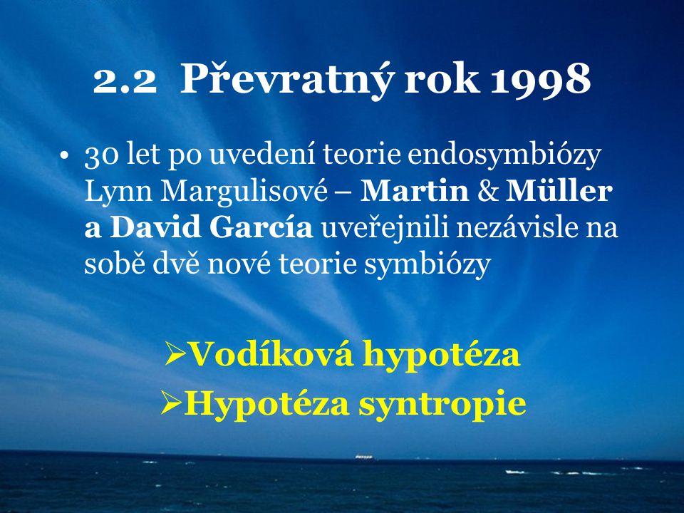 2.2 Převratný rok 1998 Vodíková hypotéza Hypotéza syntropie