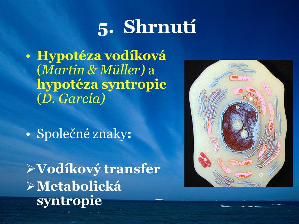 5. Shrnutí Hypotéza vodíková (Martin & Müller) a hypotéza syntropie (D. García) Společné znaky: Vodíkový transfer.