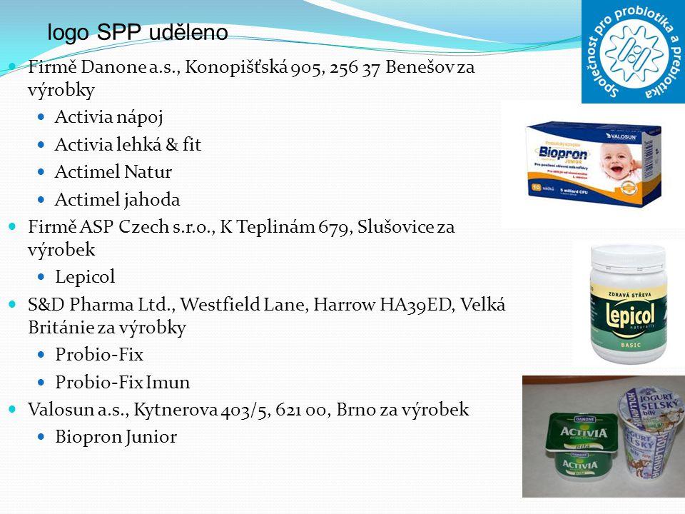 logo SPP uděleno Firmě Danone a.s., Konopišťská 905, 256 37 Benešov za výrobky. Activia nápoj. Activia lehká & fit.