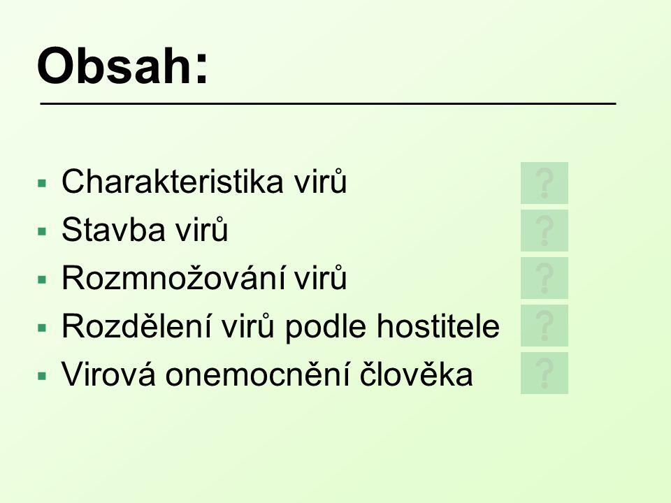 Obsah: Charakteristika virů Stavba virů Rozmnožování virů