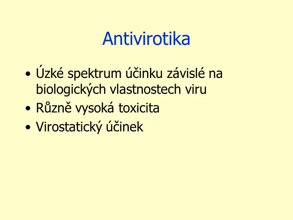 Antivirotika Úzké spektrum účinku závislé na biologických vlastnostech viru. Různě vysoká toxicita.