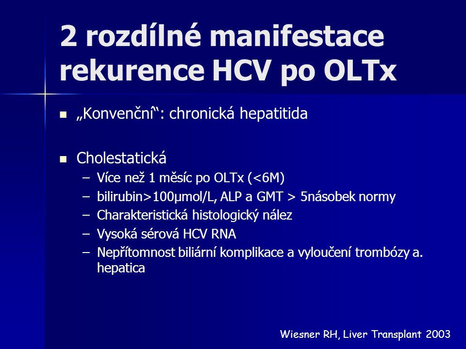 2 rozdílné manifestace rekurence HCV po OLTx