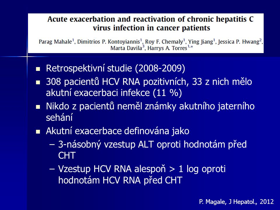 Retrospektivní studie (2008-2009)