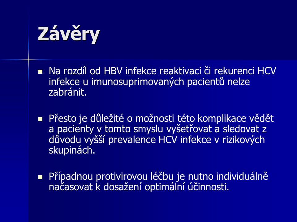 Závěry Na rozdíl od HBV infekce reaktivaci či rekurenci HCV infekce u imunosuprimovaných pacientů nelze zabránit.