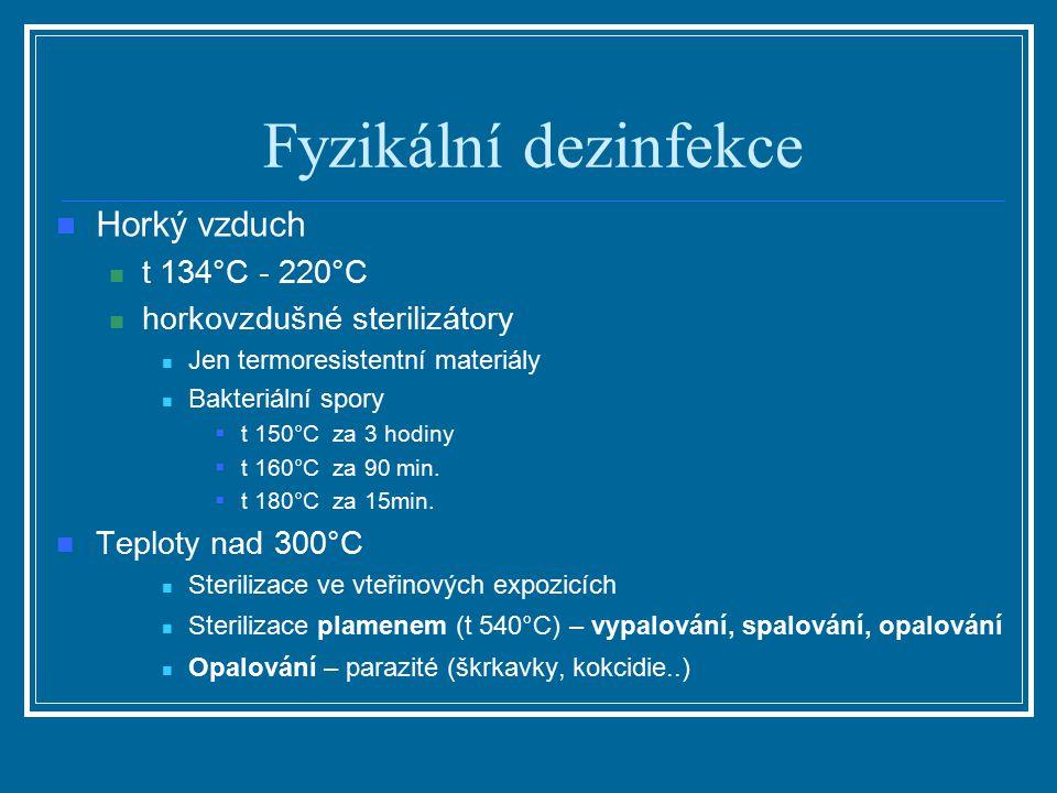 Fyzikální dezinfekce Horký vzduch t 134°C - 220°C