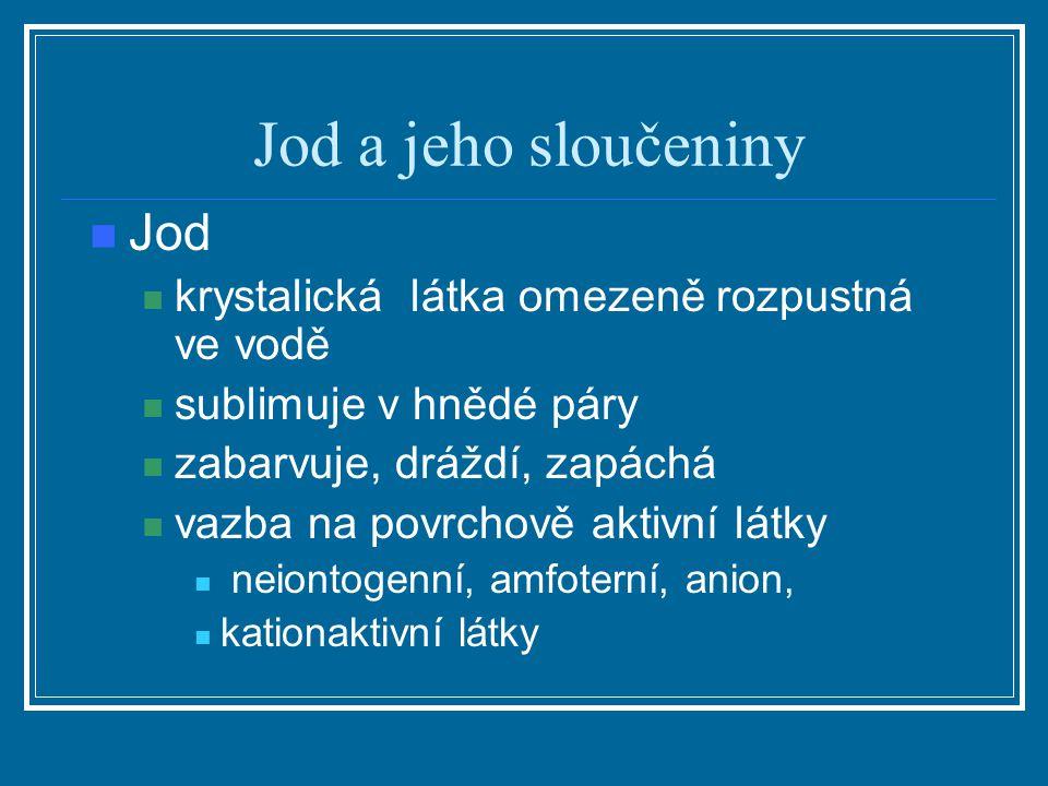 Jod a jeho sloučeniny Jod krystalická látka omezeně rozpustná ve vodě