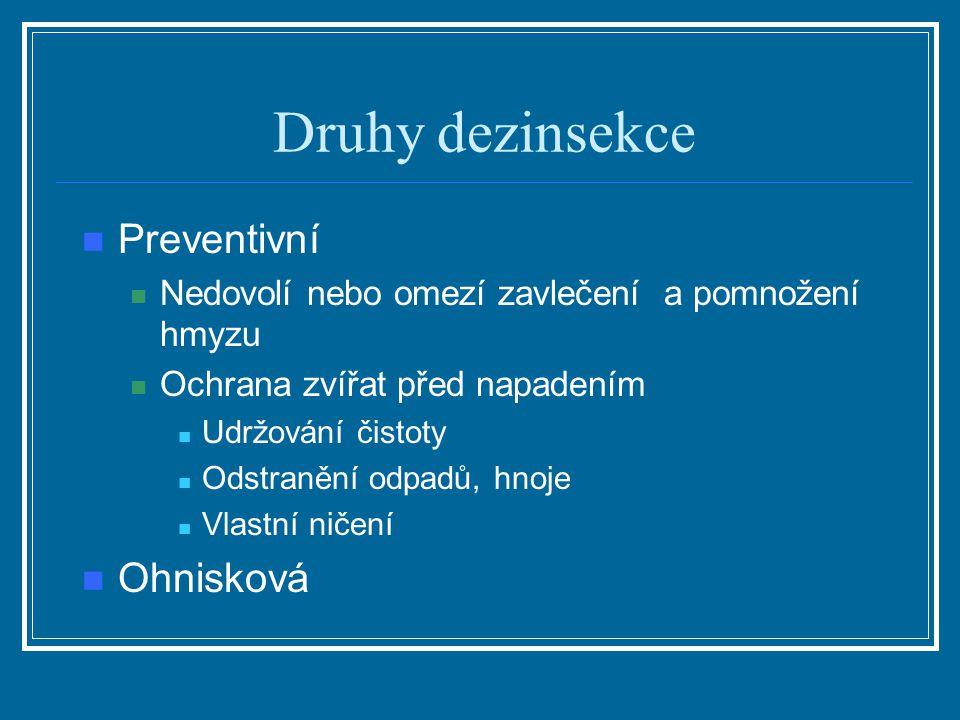 Druhy dezinsekce Preventivní Ohnisková