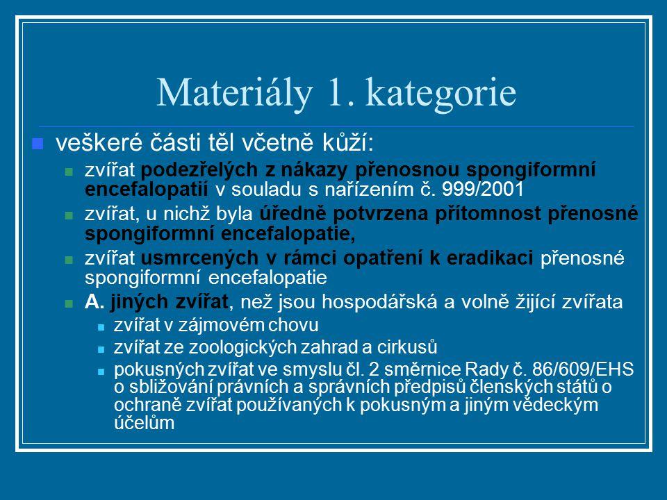 Materiály 1. kategorie veškeré části těl včetně kůží: