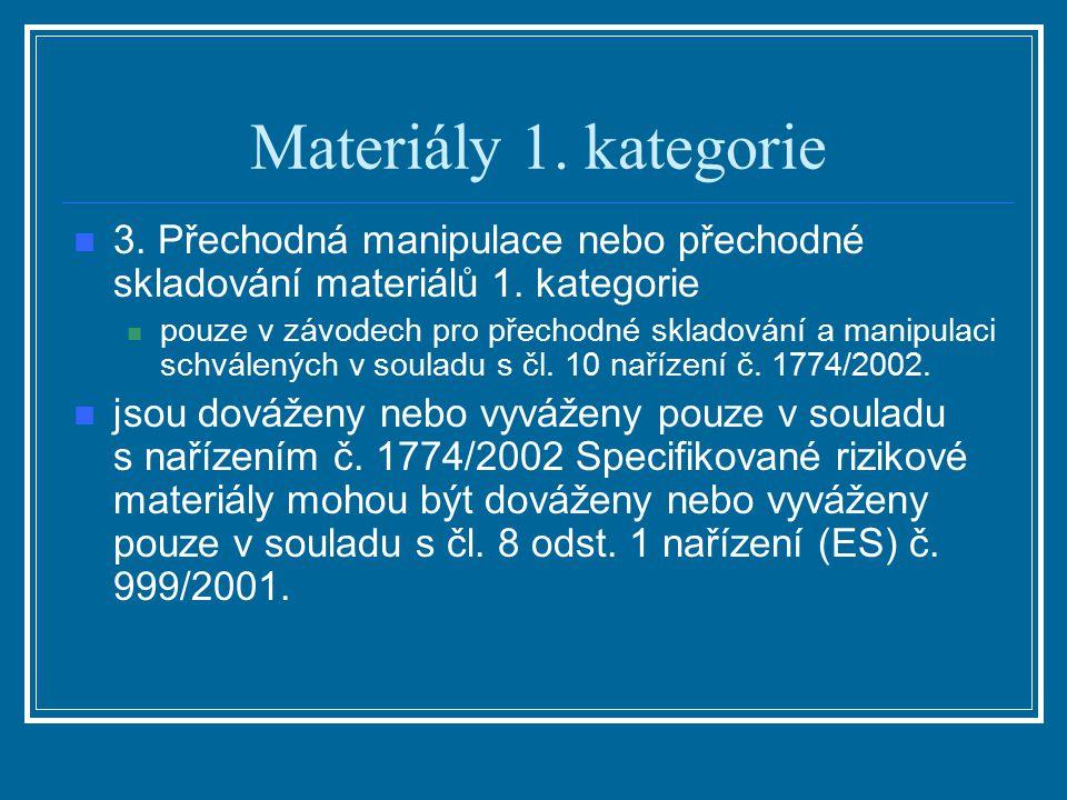 Materiály 1. kategorie 3. Přechodná manipulace nebo přechodné skladování materiálů 1. kategorie.