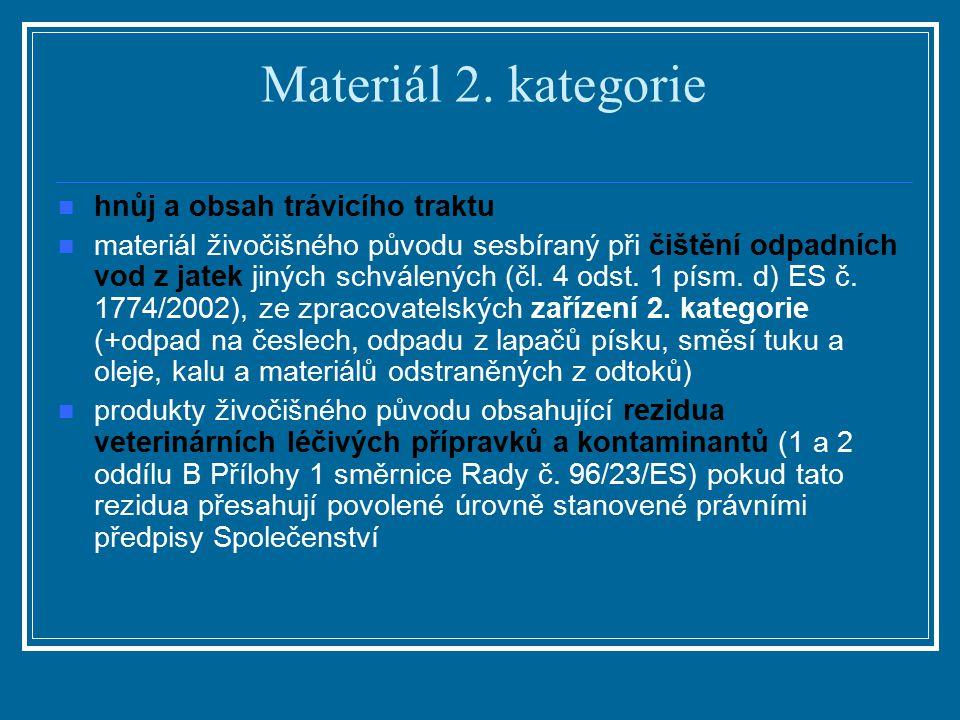 Materiál 2. kategorie hnůj a obsah trávicího traktu