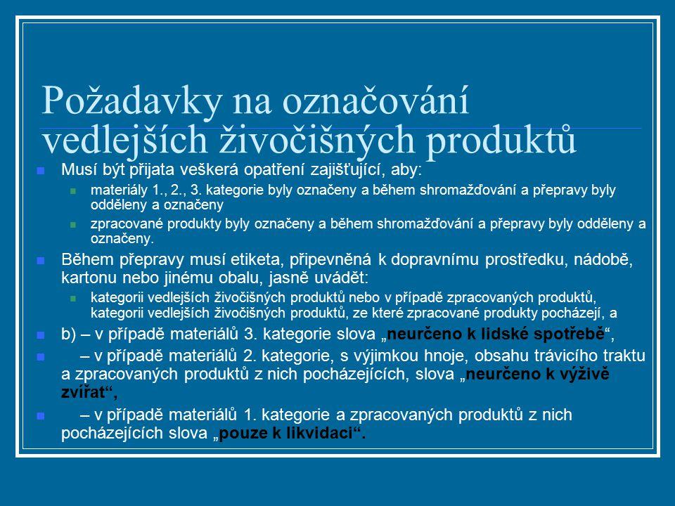 Požadavky na označování vedlejších živočišných produktů