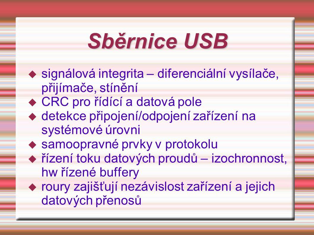 Sběrnice USB signálová integrita – diferenciální vysílače, přijímače, stínění. CRC pro řídící a datová pole.